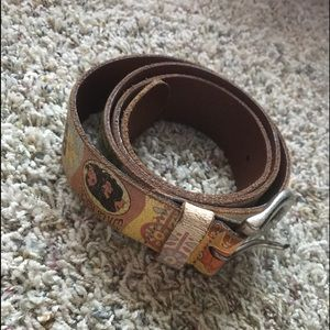 Fossil Genuine Leather Large Daisy Rockers Belt